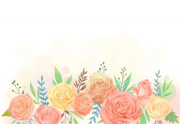 Желтая и оранжевая роза цветок акварельные иллюстрации Premium векторы