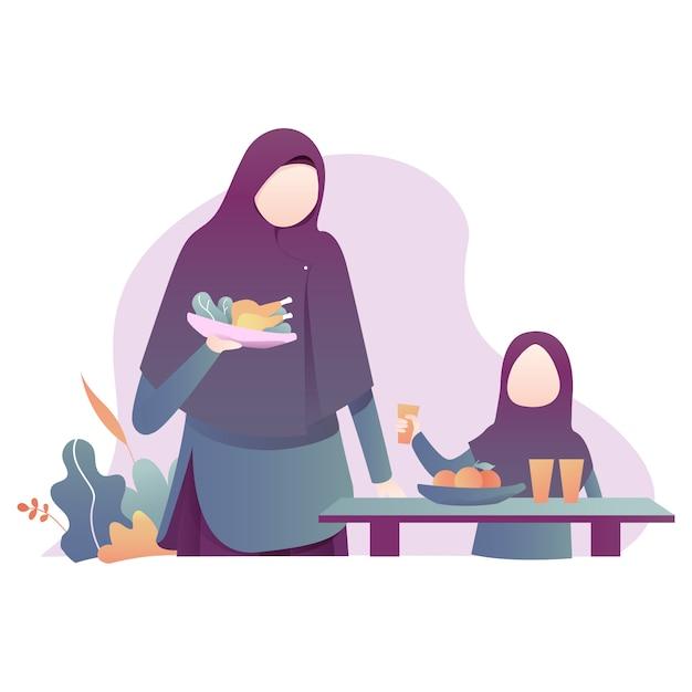 Рамадан карим иллюстрация с иллюстрацией мусульманской семьи Premium векторы