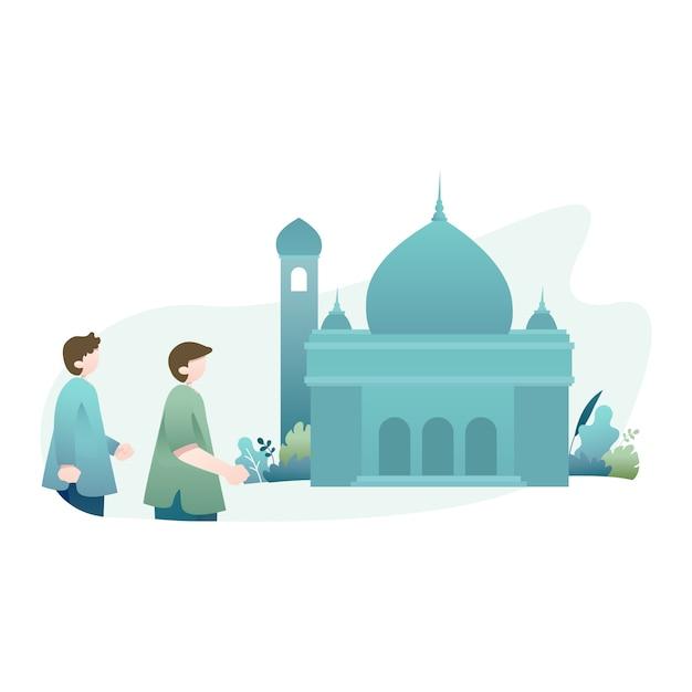 Рамадан карим иллюстрация с двумя мусульманами, идущими в мечеть Premium векторы