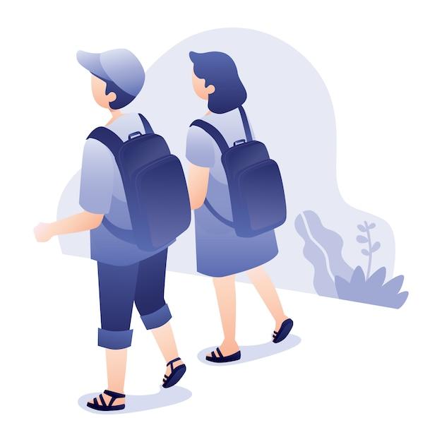 Путешествия иллюстрация с молодым мужчиной и женщиной вместе ходить с рюкзаком Premium векторы