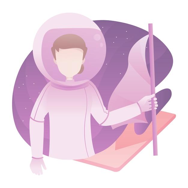 旗を押しながらスーツスペースを着た男の女性宇宙飛行士イラスト Premiumベクター
