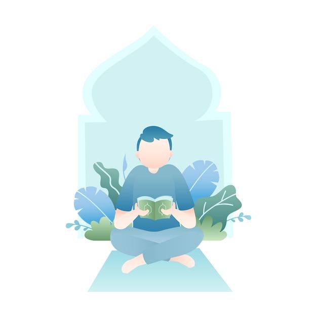 Рамадан иллюстрация с человеком, читающим священный коран с тропическими листьями Premium векторы
