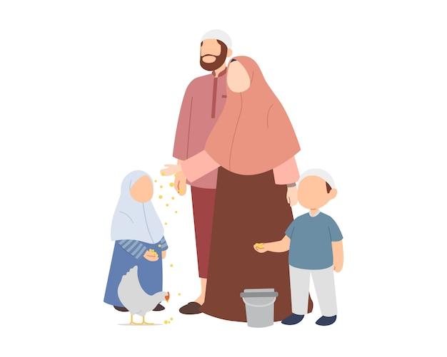 Счастливая мусульманская семья, кормящая курицу Premium векторы