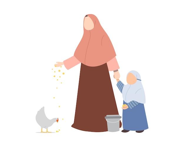 Мать-мусульманка учит свою дочь кормить курицу Premium векторы