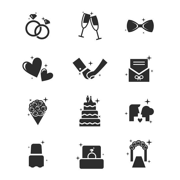 Набор иконок для свадьбы Premium векторы