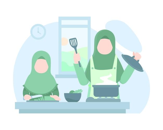 Мать и дочь готовят вместе на кухне Premium векторы