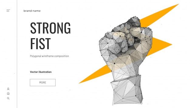 Молния в кулак. низкополигональная каркасный стиль. бизнес-концепция силы или власти. многоугольный геометрический кулак. Premium векторы