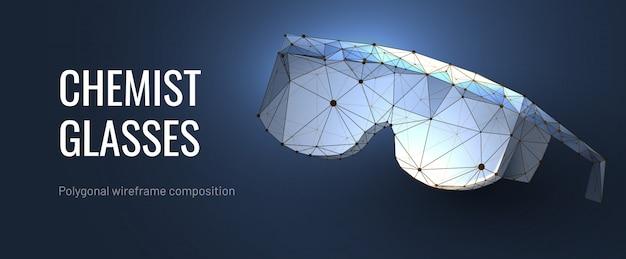 Химические очки полигональные каркасные Premium векторы