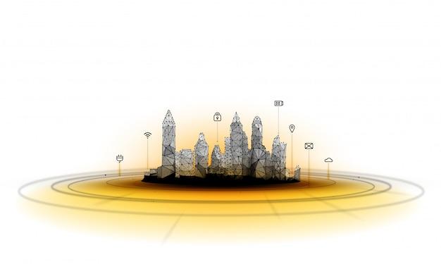 Футуристический город в стиле полигонального каркаса Premium векторы