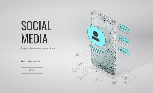 多角形のワイヤフレームスタイルと等尺性のソーシャルメディアの背景 Premiumベクター