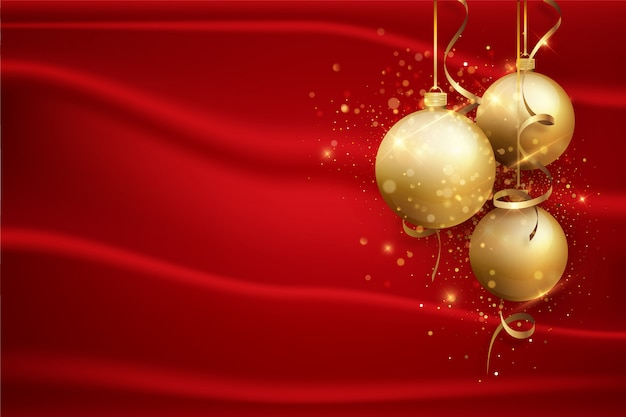 金のボールと赤のクリスマス背景。休日の背景。 Premiumベクター