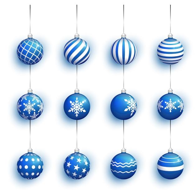 白で隔離される青いクリスマスボール。 Premiumベクター