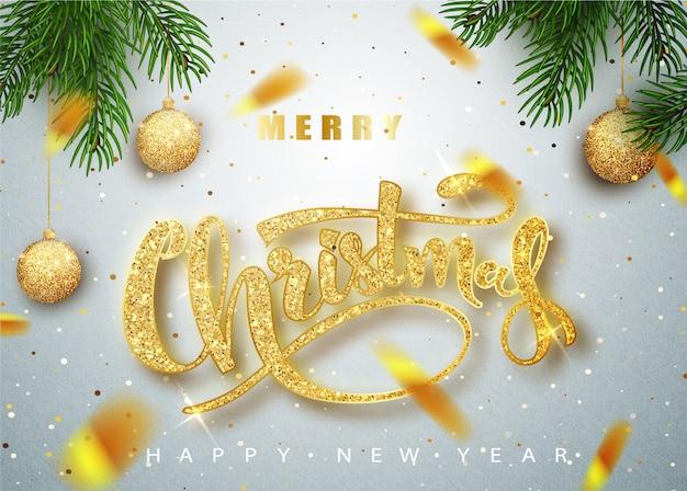 Счастливого рождества надписи поздравительных открыток для праздника. Premium векторы