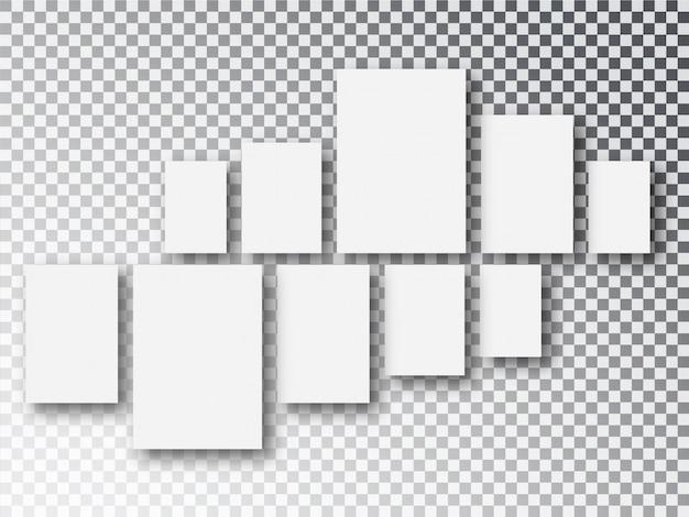 Чистый белый холст или фоторамки на прозрачной пленке Premium векторы