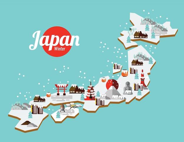 Япония зимняя достопримечательность и карта проезда. элементы и значки с плоским дизайном Premium векторы