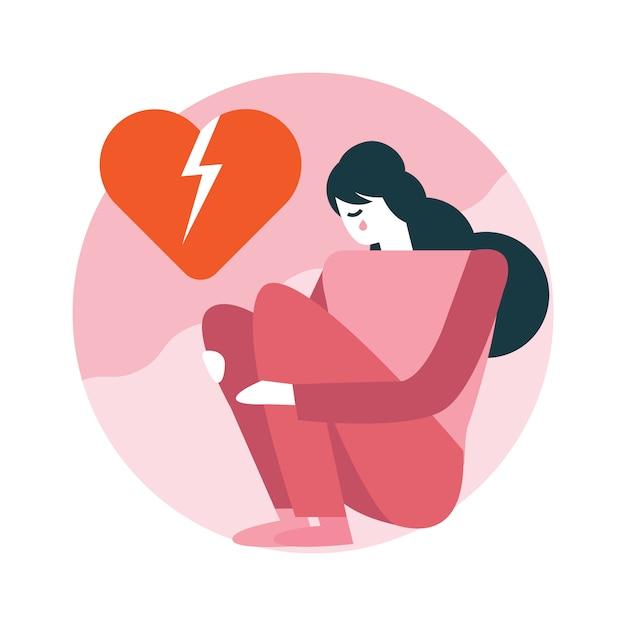 Женщина разбитое сердце, сидя в комнате. Premium векторы