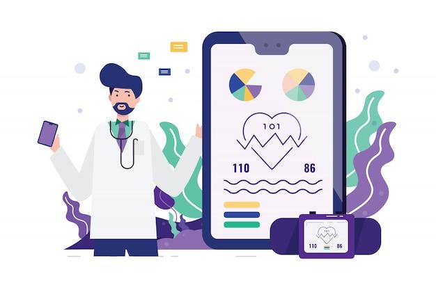スマートデバイスと健康のためのアプリケーションを持つ医師。 Premiumベクター