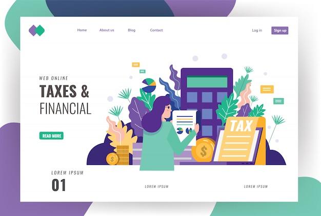 税金と財務のランディングページのテンプレート。 Premiumベクター