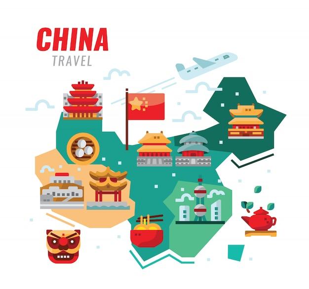 Китайское путешествие. китайская традиционная архитектура, строительство и культура. векторная иллюстрация Premium векторы