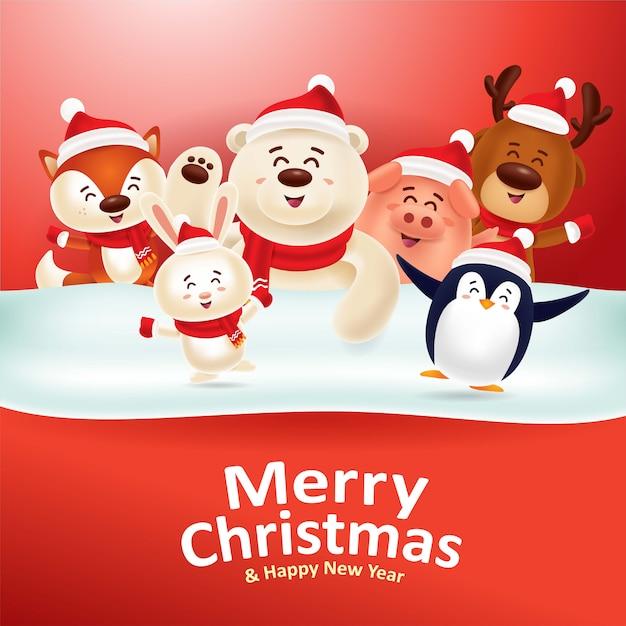 メリークリスマス&ハッピーニューイヤー!赤い看板とかわいい動物 Premiumベクター