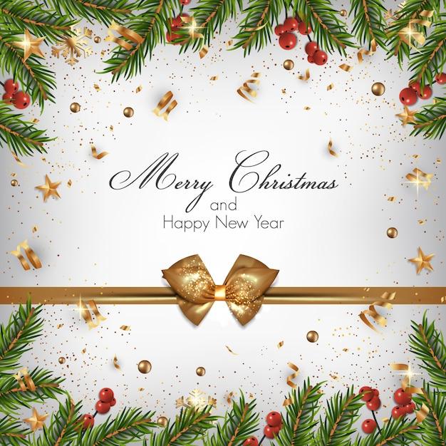 モミの小枝と装飾品でクリスマスの背景 Premiumベクター