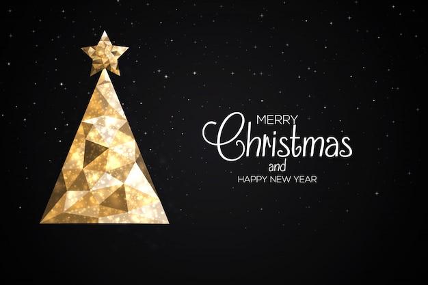 Праздничная рождественская открытка из треугольников Premium векторы