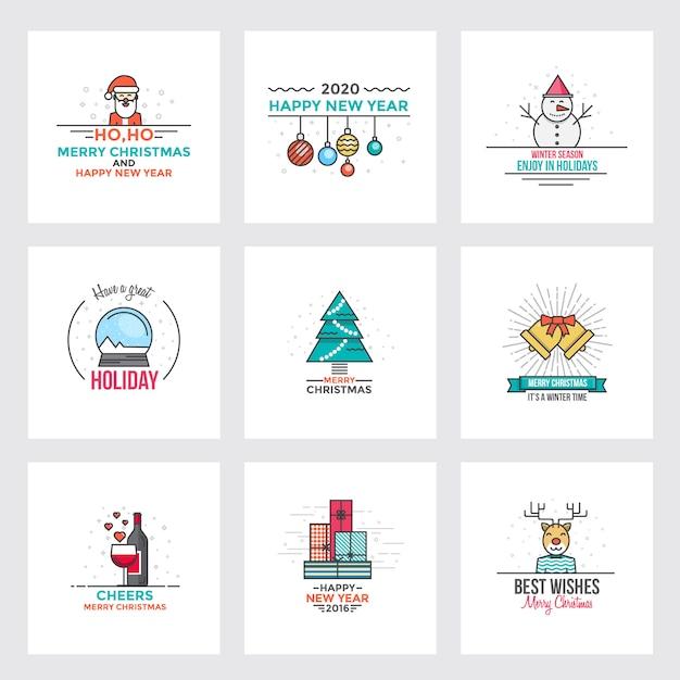 Плоская линия рождественская открытка Premium векторы