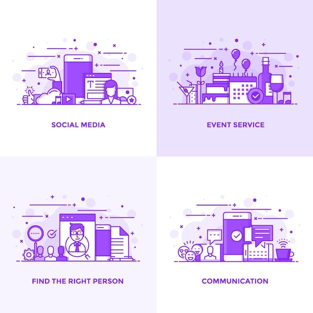 Плоская линия фиолетовый Premium векторы