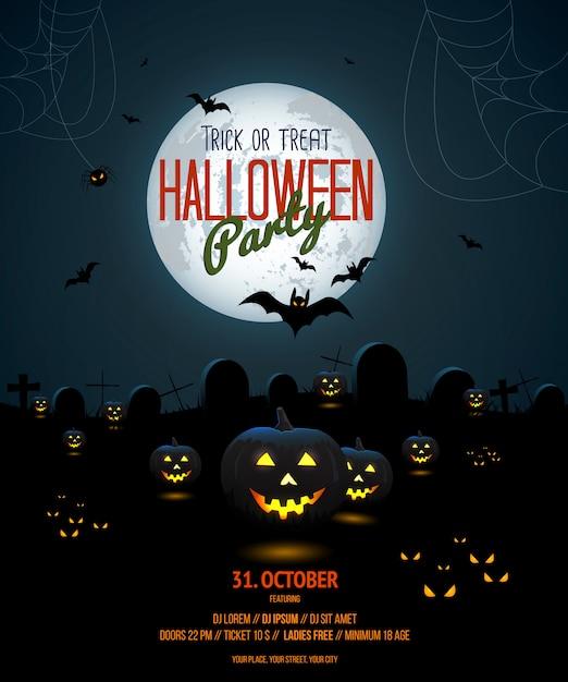 Шаблон плаката ночи хэллоуина Premium векторы