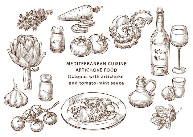 Осьминог с артишоком и томатно-мятным соусом Premium векторы