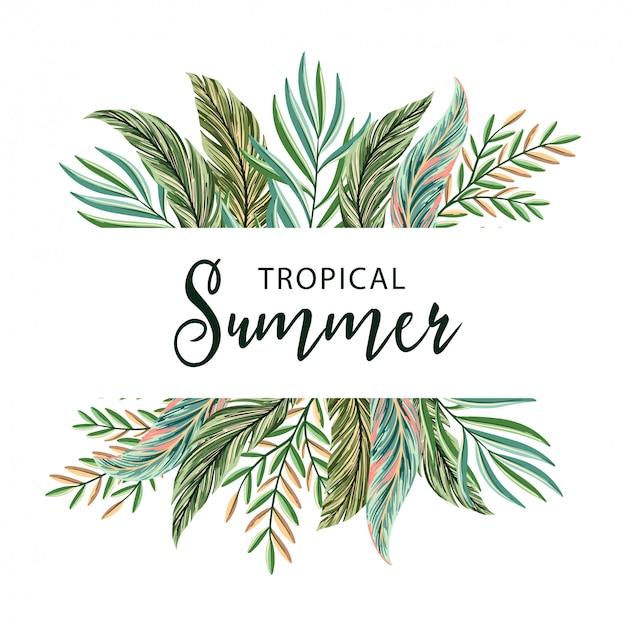 ヤシの葉、熱帯の夏の背景 Premiumベクター