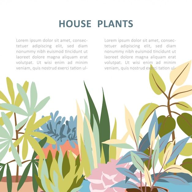 家の植物の背景テンプレート Premiumベクター