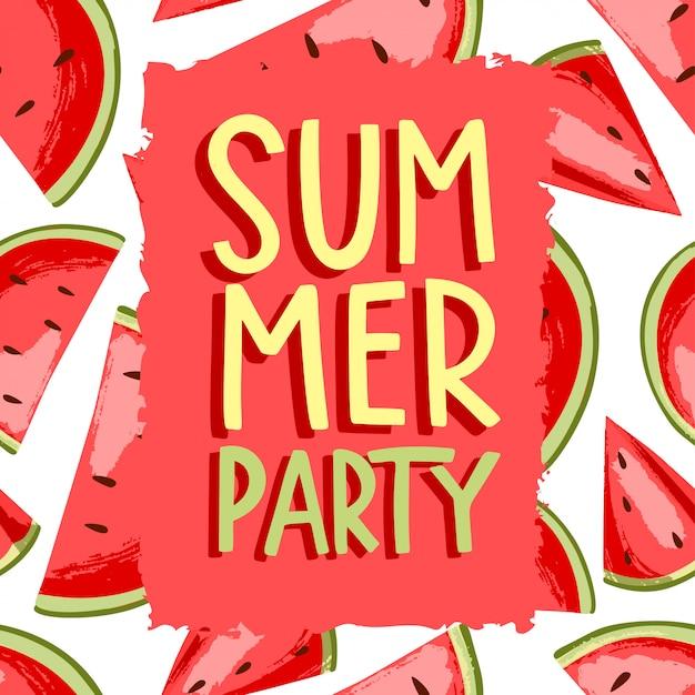 Арбуз летняя вечеринка Premium векторы