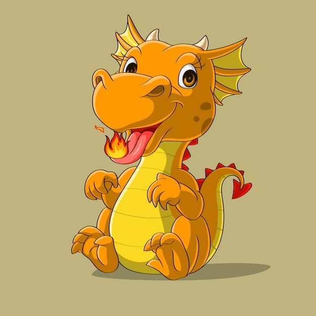 Милый маленький дракон, плевки огня рисованной Premium векторы