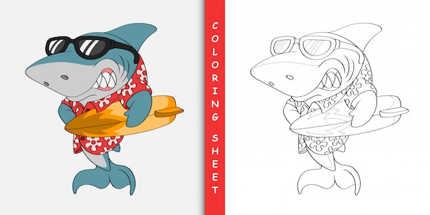 Улыбаясь мультфильм серфер акула, раскраска Premium векторы