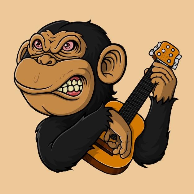 ギターを弾く手描き猿 Premiumベクター