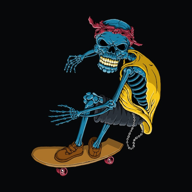 スカルスケートボード、手描き、カラフルなベクトル Premiumベクター
