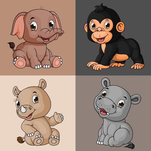 漫画かわいい動物コレクションセット、手描き、ベクトル Premiumベクター