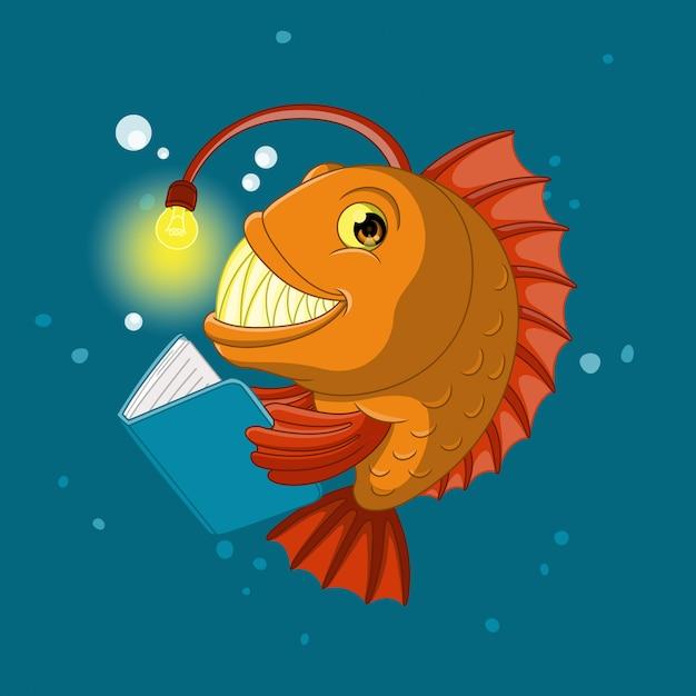 本を読んでいる魚 Premiumベクター