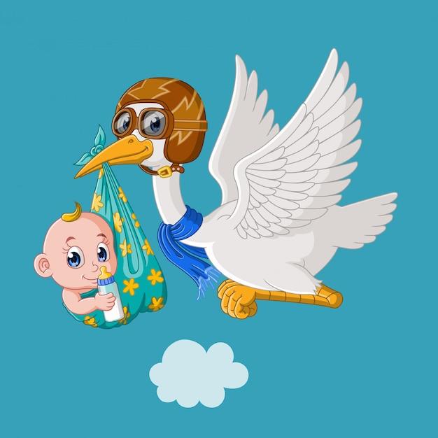 Милый мультфильм аист летит с малышом Premium векторы