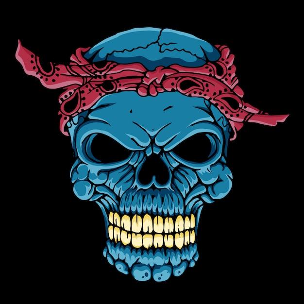 バンダナと頭蓋骨の頭 Premiumベクター