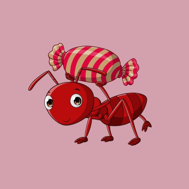 アリはお菓子を運ぶ、ベクトル Premiumベクター