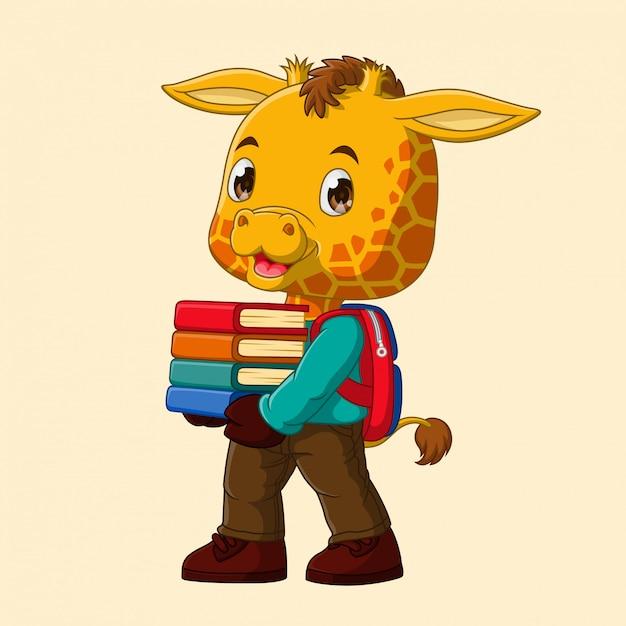 漫画キリンは学校に行く本のスタックを運ぶ Premiumベクター