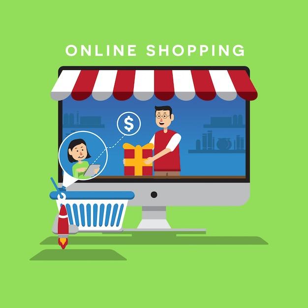 Интернет-магазин плоской иллюстрации Premium векторы