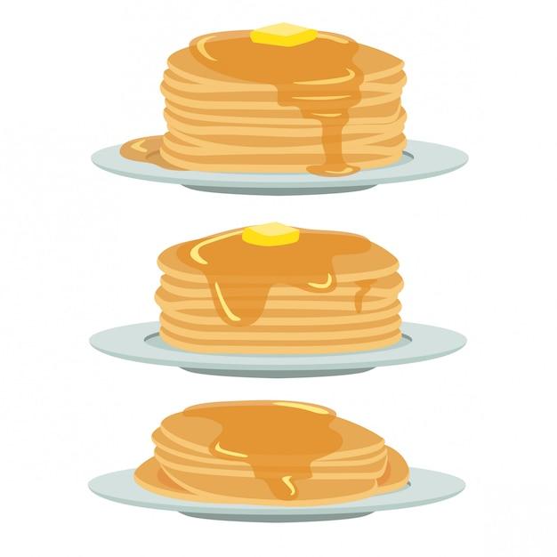 蜂蜜とバターのパンケーキ Premiumベクター