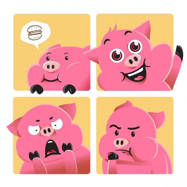 Мультфильм свинья иллюстрация с различным выражением Premium векторы