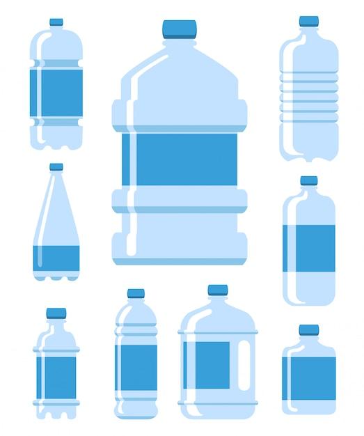 プラスチック製のウォーターボトルイラストセット Premiumベクター