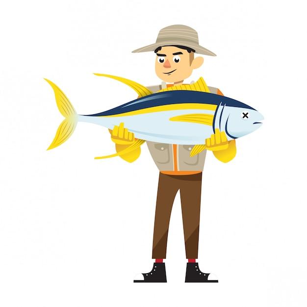 Молодой рыбак с тунцом Premium векторы