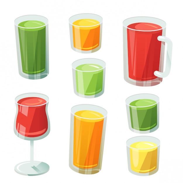 各種ガラス製のフルーツジュース Premiumベクター