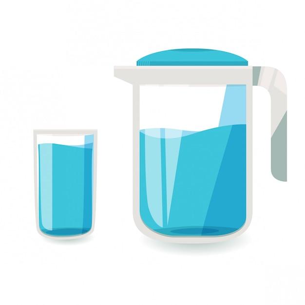 コップ一杯の水と水差し Premiumベクター
